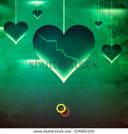 Grunge broken home and relationship Concept artwork with hearts and rings. Green textured background. - stock photo