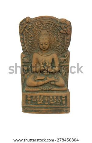 Grunge Brown Buddha With Buddhist Wheel Statue - stock photo