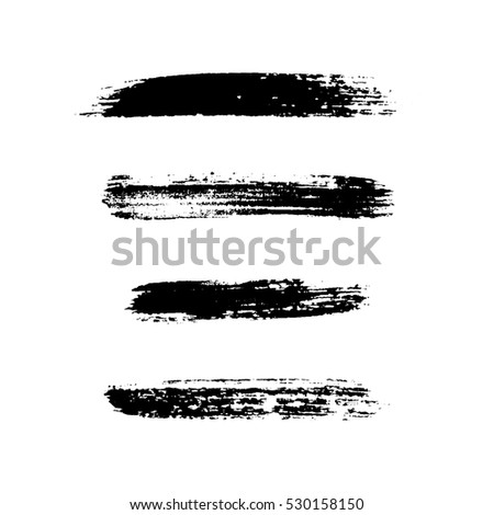 Grunge brushes stroke texture set, isolated black on white. Paintbrush artistic shape elements. Ink line. Watercolor art template. Paint design. Smear creative pattern. illustration
