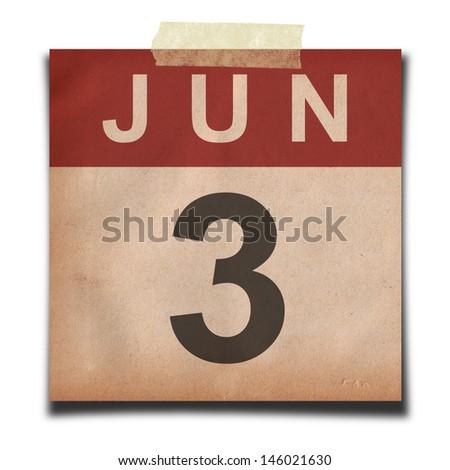 Grunge calendar for June on white background - stock photo