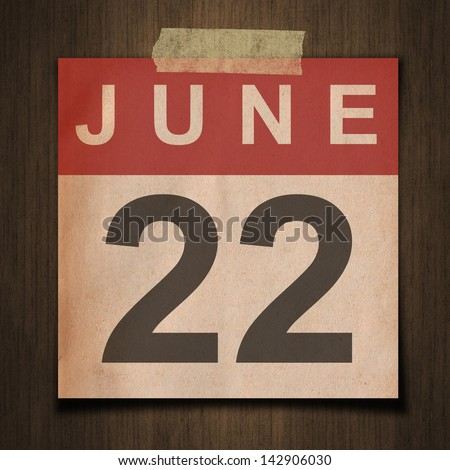 Grunge calendar for June on wood background - stock photo