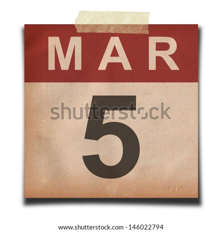Grunge calendar for March on white background - stock photo