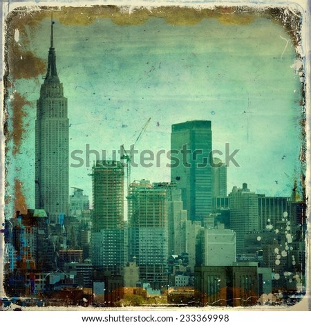 Grunge city skyline with borders - stock photo