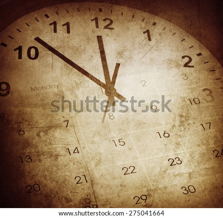 Grunge clock face and calendar - stock photo
