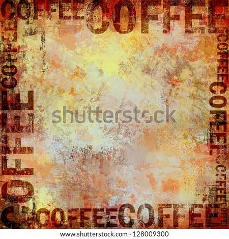 Grunge Coffee Frame Background - stock photo