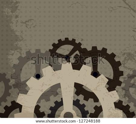 grunge cogwheel background (raster version) - stock photo