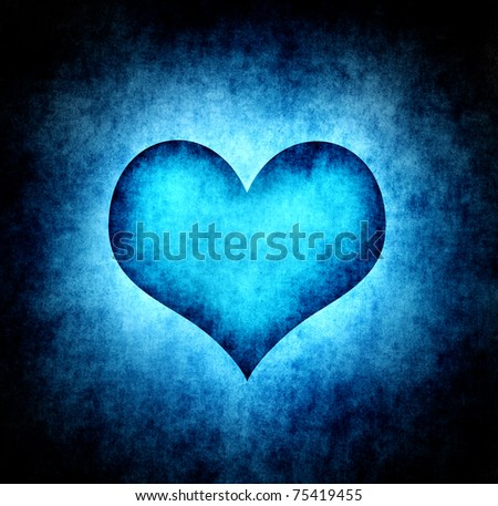 Grunge cold heart background - stock photo