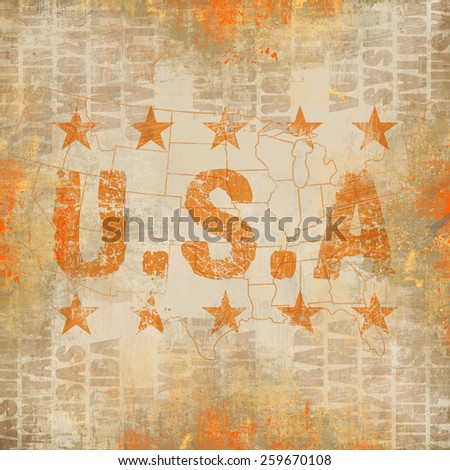Grunge Collage with USA cities and map - stock photo