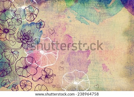 Grunge color background texture with flowers - stock photo