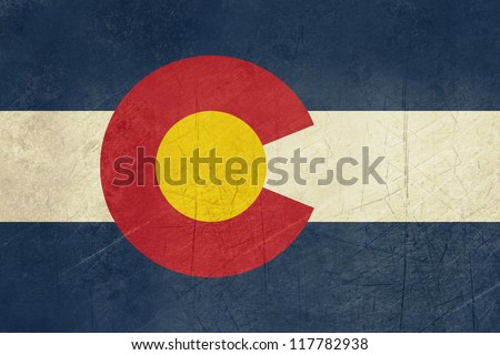 Grunge Colorado state flag of America, isolated on white background. - stock photo
