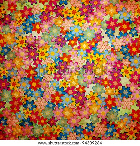 grunge colorful flowers background pattern vintage style - stock photo