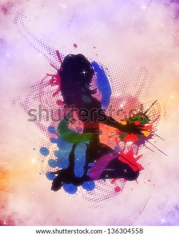 Grunge colorful illustration of a music DJ background. - stock photo