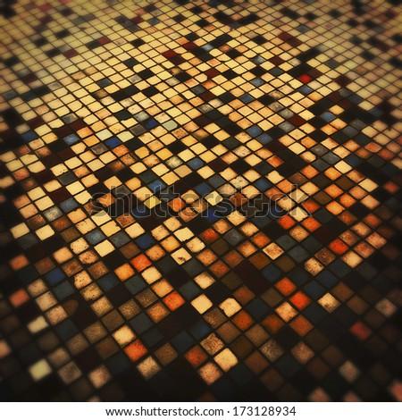 Grunge colorful tiled background - stock photo