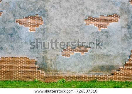 grunge concrete and brick wall for background