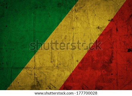 Grunge Congo Republic Flag  - stock photo