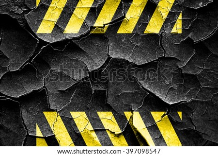 Grunge cracked Black and yellow hazard stripes