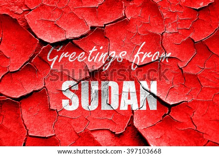 Grunge cracked Greetings from sudan