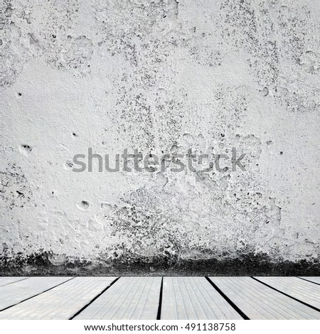 Grunge damaged room interior with copy space.