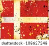 Grunge Dania flag with stains - flag series - stock photo