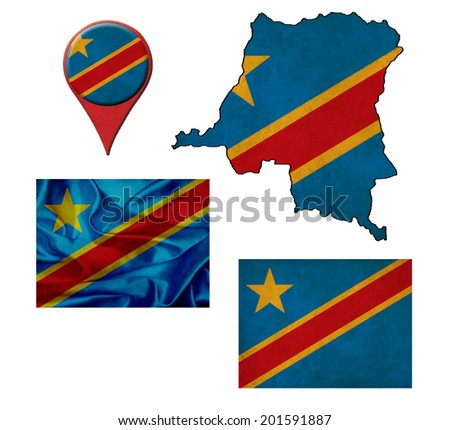 grunge Democratic Republic of the Congo flag, map and map pointers