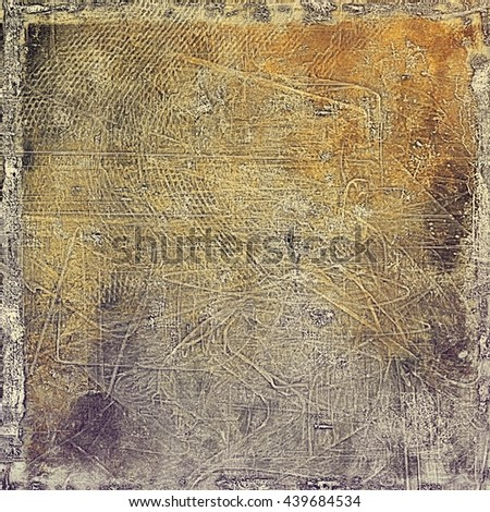 Grunge design composition over ancient vintage texture. Creative background with different color patterns: yellow (beige); brown; red (orange); gray - stock photo