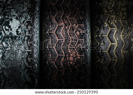 Grunge deteriorate tyre background under the light - stock photo