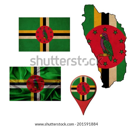 grunge Dominica flag, map and map pointers