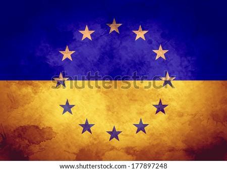 Grunge EU and Ukraine Flag - stock photo