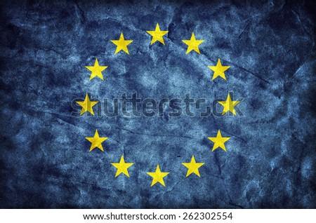 Grunge European Union flag, parchment paper texture. EU - stock photo