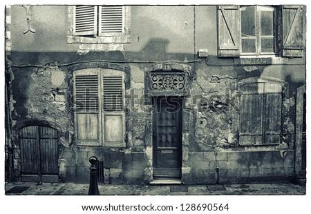 Grunge facade Verdun, France. - stock photo