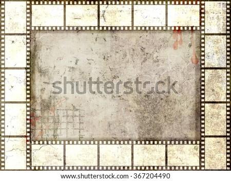 Grunge film strip frame. Sepia tones - stock photo
