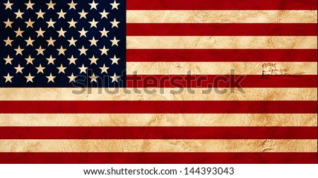 Grunge flag of America on wall. Independence day celebration