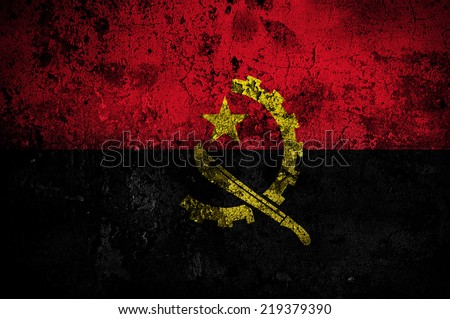 grunge flag of Angola with capital in Luanda - stock photo