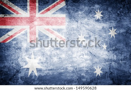 Grunge flag of Australia on dirty paper - stock photo