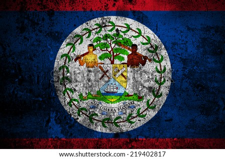 grunge flag of Belize with capital in Belmopan