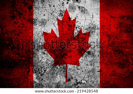 grunge flag of Canada with capital in Ottawa - stock photo