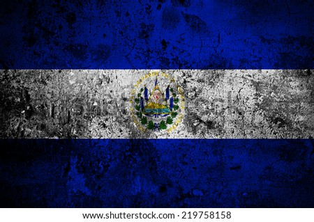 grunge flag of El Salvador with capital in San Salvador - stock photo