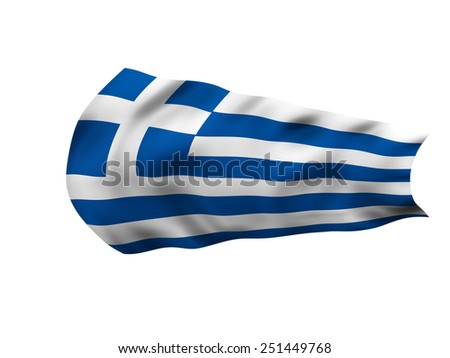 Grunge Flag of Greece in the wind - stock photo