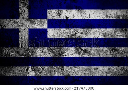 grunge flag of Greece with capital in Athens - stock photo