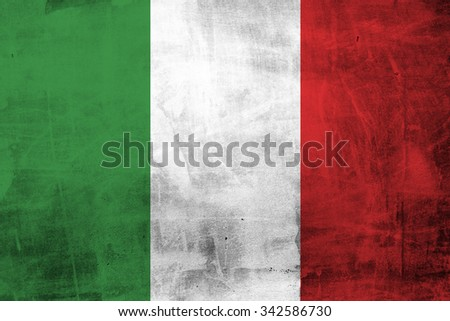 Grunge Flag of Italy on concrete wall - stock photo