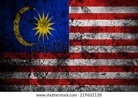 grunge flag of Malaysia with capital in Kuala Lumpur - stock photo