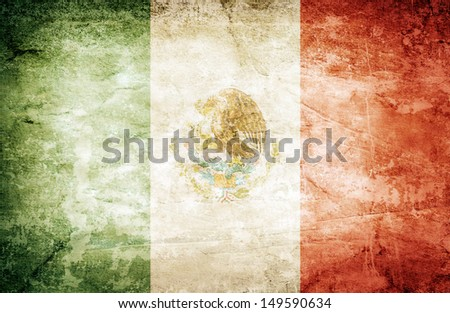 Grunge flag of mexico on dirty paper - stock photo