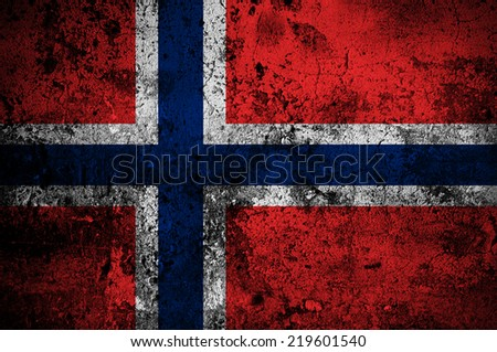 grunge flag of Norway with capital in Oslo - stock photo