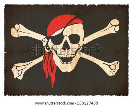Grunge flag of pirates - stock photo