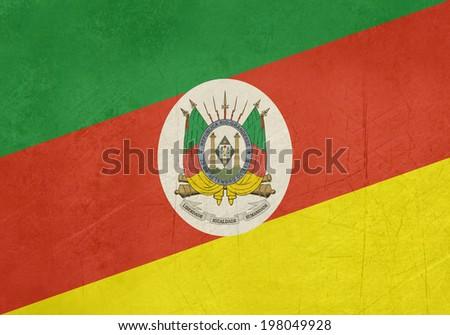 Grunge flag of Rio Grande do Sul state in Brazil - stock photo