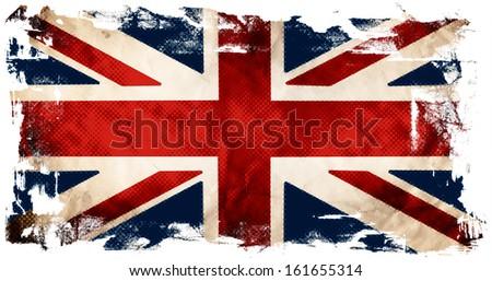 Grunge flag of United kingdom in pop-art style - stock photo