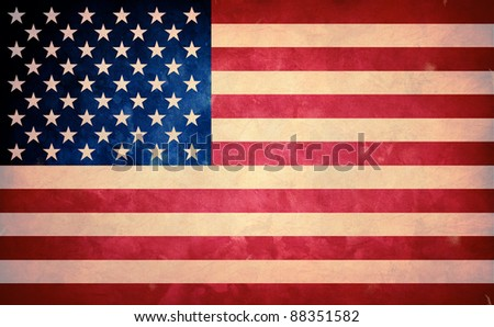 Grunge flag of USA. Horizontal composition.