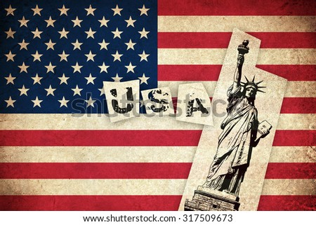 Grunge Flag of USA / United states of America country with monuments