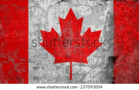 Grunge Flags of the World with textured vintage effect: Canada Country - stock photo