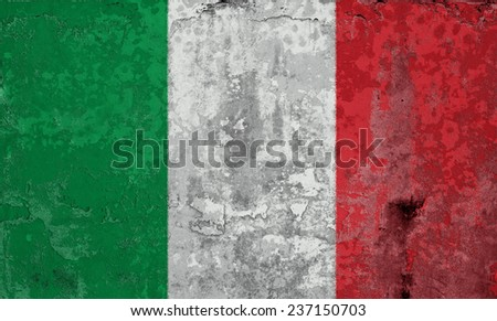 Grunge Flags of the World with textured vintage effect: Italy Country
